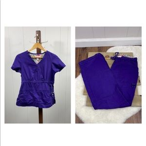 Koi Solid Purple Katelyn Top and Lindsey Cargo Bottoms Scrubs Set